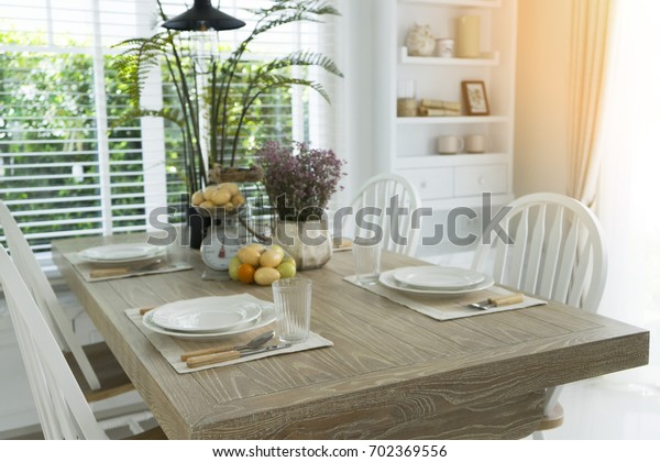 Cottage Style Dining Room Stock Photo (Edit Now) 702369556