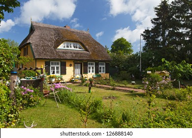 cottage with thatched roof and a pretty garden