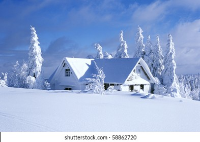 cottage in winter, Orlicke hory, Czech Republic