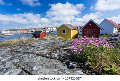 Cottages and boat houses at Vrango of Bohuslan Coast, Sweden