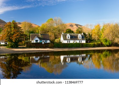 Cottages on the banks of Loch Lomond, Luss, Scotland