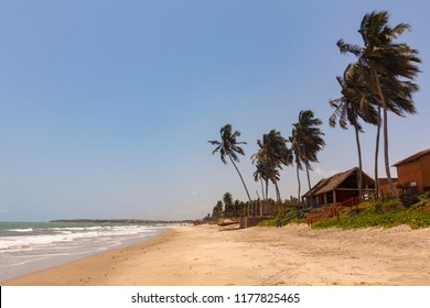 Cottages and palm trees on Sankofa beach Ghana, near Accra city