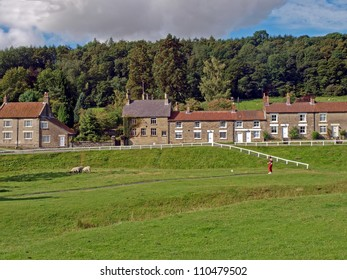 Cottages in the popular tourist village of Hutton-Le-Hole in the North York Moors National Park, England