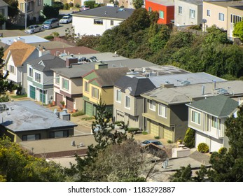 Cottages in a row in San Francisco. USA. Spring 2015