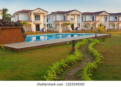 Cottages for tourists in western India. Goa