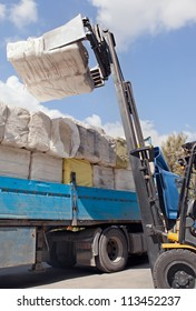 cotton bales, ready for delivery to cotton buyers.