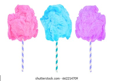 Cotton candy in pink, blue and purple colors isolated on a white background