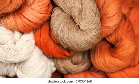 Cotton color natural dyes handmade, old weaving loom and thread of yarn