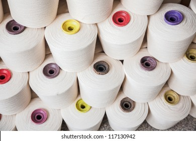 cotton cone stacked in a yarn factory