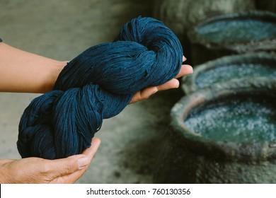 Cotton dye indigo. Indigo is made from natural ingredients. in Thailand.