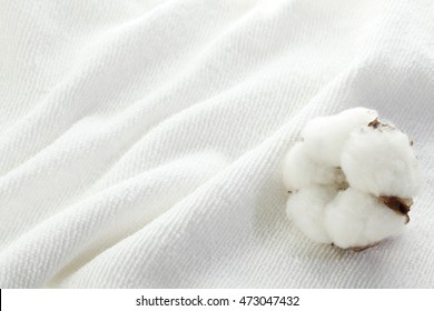 Cotton flower on cotton towel
