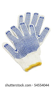 Cotton gloves with blue rubber studs on white background
