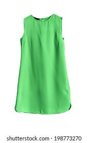 Cotton green mini dress on white background