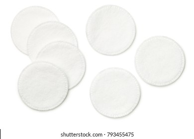 Cotton pads isolated on white background. Top view
