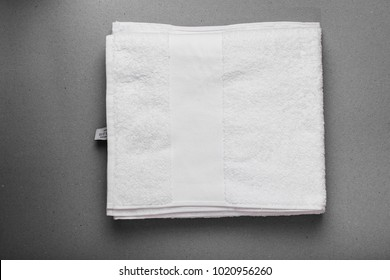 cotton soft white towel isolated on white/gray background