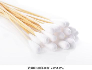 Cotton sticks isolated on white background