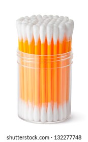 Cotton swabs in transparent plastic box. Isolated on a white.