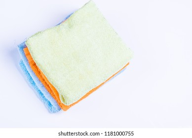Cotton, textile towel. Hygiene dry bath cloth. Clean, soft, fabric, fluffy bathroom washcloth.