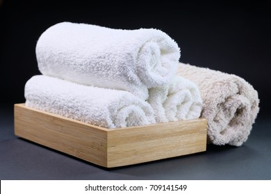 Cotton towels on black background