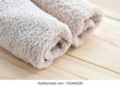 Cotton towels on wooden background