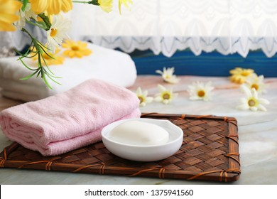 Cotton towels and soap.