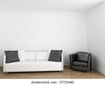 couch and armchair to face a blank wall