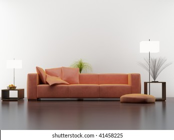 Couch to face a blank wall, with two lamps