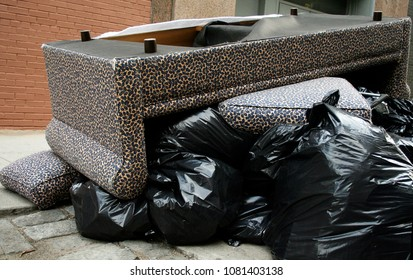 A couch on the curb, on a pile of garbage bags in new york city