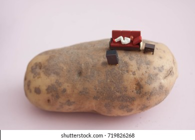 Couch potato. Miniature figurine person on a potato. Example of unhealthy, inactive, or lazy lifestyle. Tiny person relaxing on a tater.