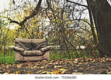 couch standing in the green