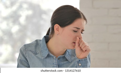 Cough, Portrait of Sick Young Girl Coughing at Work