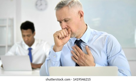 Cough, Sick Grey Hair Businessman Coughing at Work