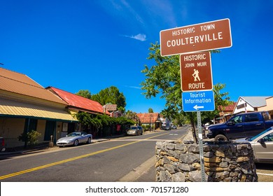 Coulterville, California - July 27, 2014: A sign marking downtown Coulterville, a gold mining town about 30 miles from Yosemite National Park.