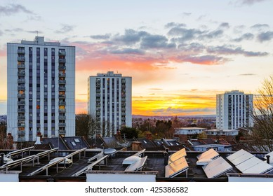 Council estates in London with sunset