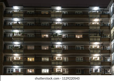 Council flats are lit up at night on the 1950s Nelson Square Gardens estate on Blackfriars Road in Southwark.