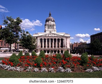 Council House with red flowers in foreground, Nottingham, Nottinghamshire, UK, Western Europe.