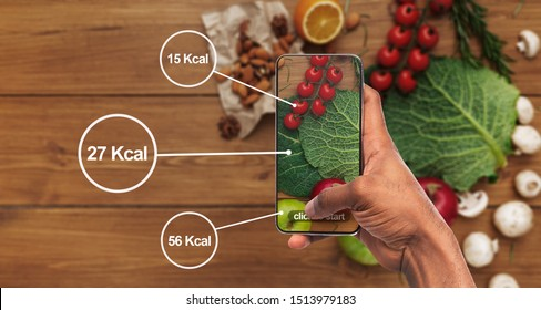 Count calories easily. African man holding cellphone and taking photo of food for healthy nutrition, panorama