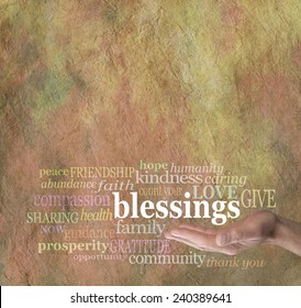 Count Your Blessings - Male hand palm up with the word 'blessings' floating above surrounded by words associated with counting our blessings on stone effect background