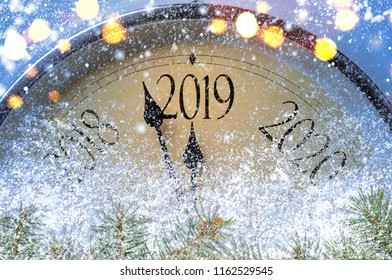 Countdown to midnight. Retro style clock counting last moments before Christmass or New Year 2019.