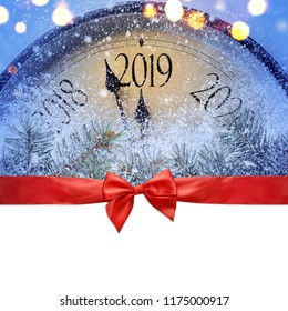Countdown to midnight. Retro style clock is counting last moments before Christmas or New Year 2019 on blank white background, clipping path provided. View from above.