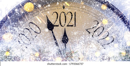 Countdown to midnight. Retro style clock counting last moments before Christmas or New Year 2021. - Shutterstock ID 1793366737
