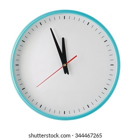 countdown wall clock with space for fonts isolated on white background