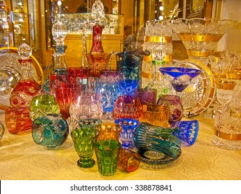 Counter with bohemian glass in Prague