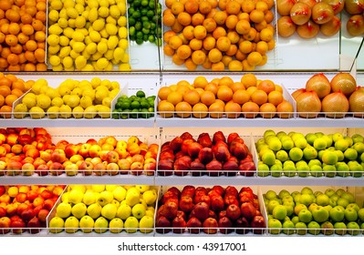 Counter with fruit in  supermarket