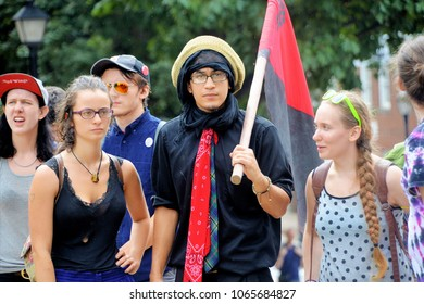 Counter protesters march at a rally in Charlottesville, Virginia on August 12, 2017.