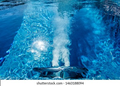Countercurrent for the pool. Water attraction. Artificial flow. Pump. Hydromassage. Flow. Water resistance.