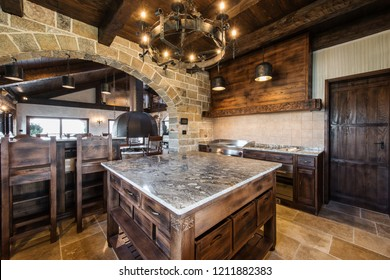 Countertop and ceiling in luxury kitchen