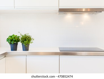 counter-top with fresh herbs