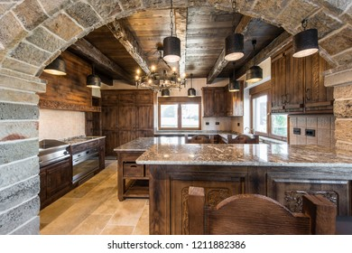 Countertop in stylish wooden kitchen room