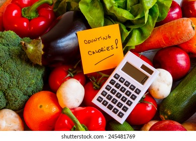 Counting calories, diet of  vegetables and fruits background